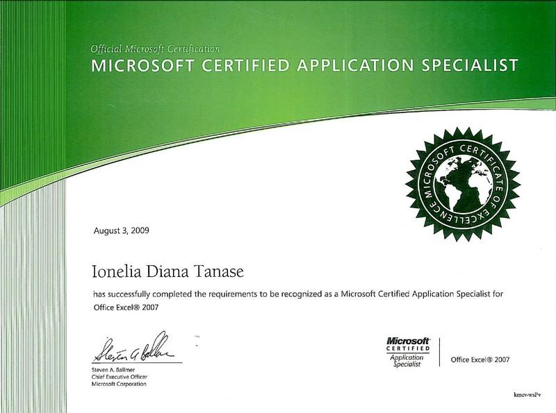 Tanase Diana - MCAS Office Excel 2007
