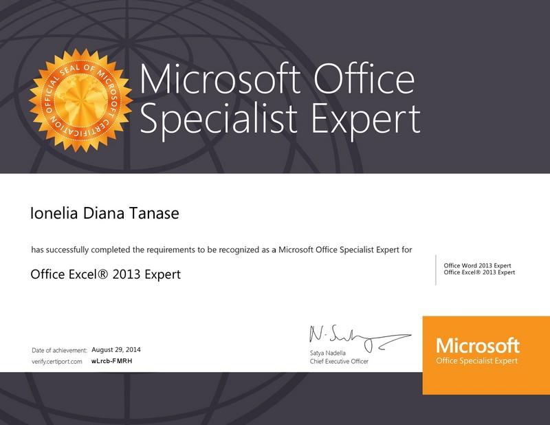 Tanase Diana - Excel expert 2013