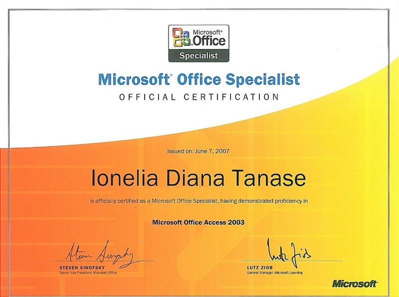 Tanase Diana - MOS Access 2003