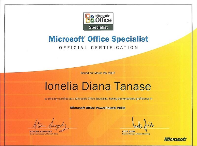 Tanase Diana - MOS PowerPoint 2003
