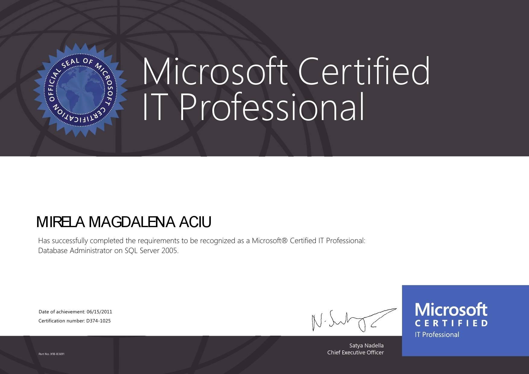 MIRELA MAGDALENA ACIU - SQL Server 2005