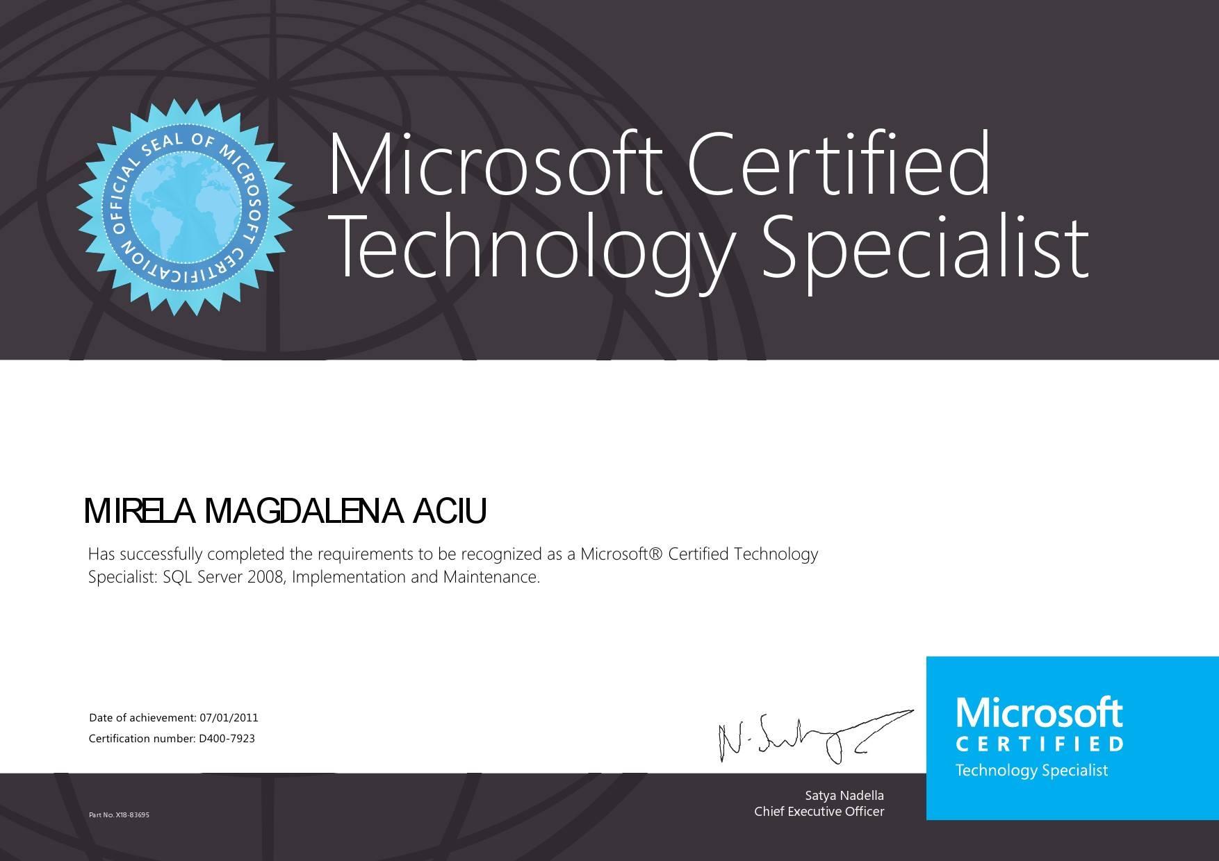 MIRELA MAGDALENA ACIU - Specialist: SQL Server 2008, Implementation and Maintenance