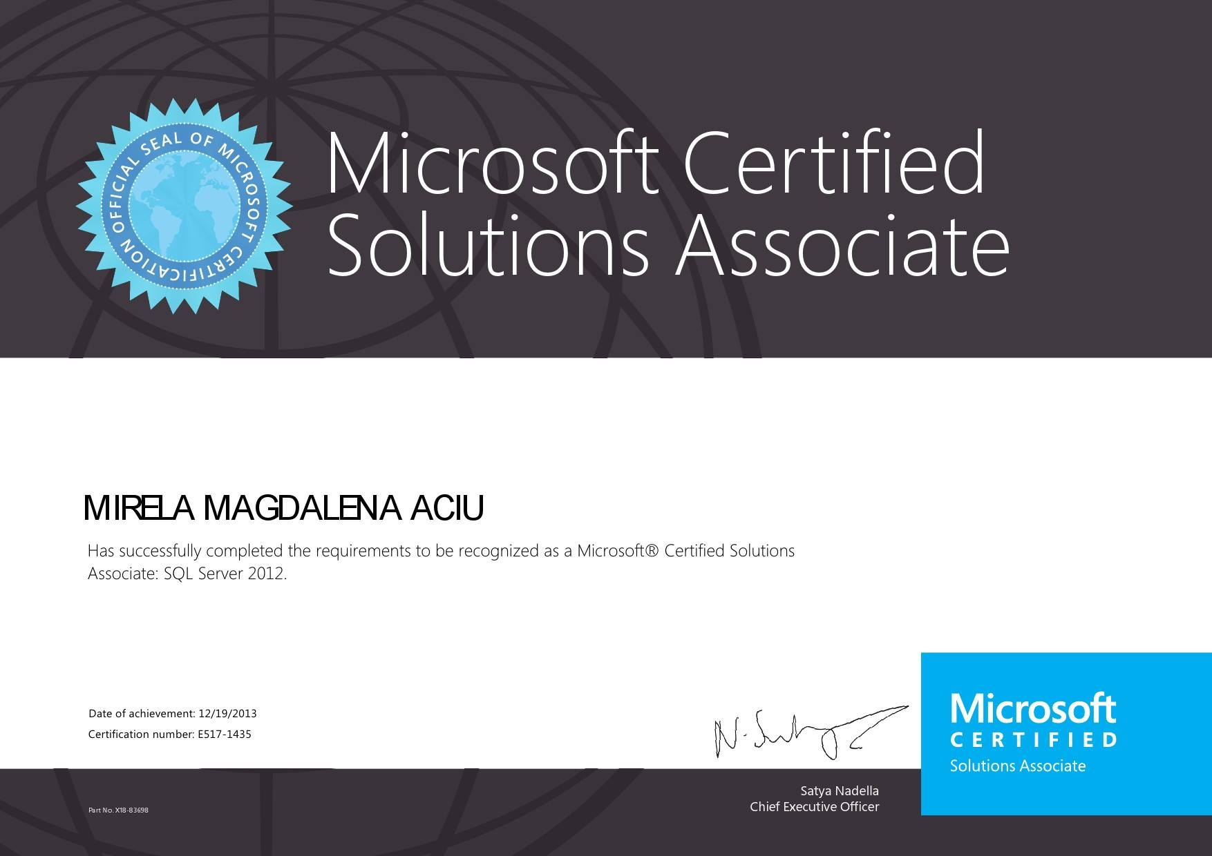 MIRELA MAGDALENA ACIU - Associate: SQL Server 2012