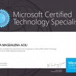 MIRELA MAGDALENA ACIU - Specialist: SQL Server 2008, Database Development.